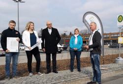 Vorbereitung der Haltestellen für die Stadbuslinie Grimma. Foto: Regionalbus Leipzig GmbH
