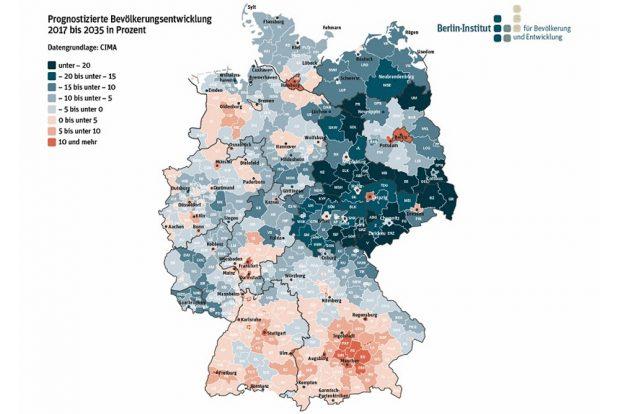 Bevölkerungsprognose bis 2035. Grafik: Berlin Institut