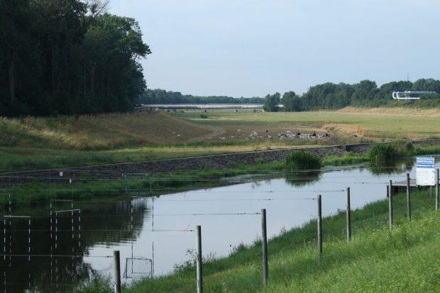 Blick vom Elsterflutbett ins Elsterhochflutbett. Der Deich links wird wieder saniert. Foto: Ralf Julke