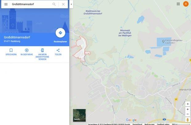 Die Moore bei Großdittmannsdorf auf Google Maps. Screenshot: L-IZ