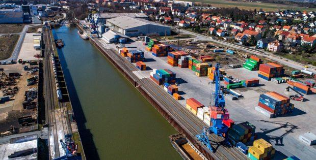 Hafen Riesa. Foto: Sächsische Binnenhäfen Oberelbe GmbH