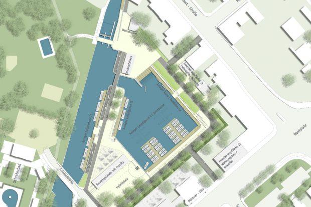 Das geplante Hafengelände. Grafik: Stadt Leipzig, Masterplanung / bgmr