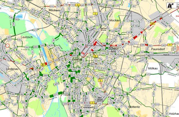 Radfahrer in 24 Stunden im inneren Stadtgebiet. Karte: Stadt Leipzig