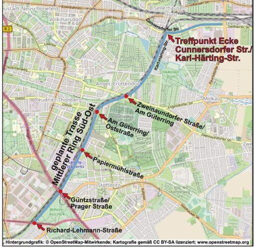Die Route des Spaziergangs. Quelle: BV Sellerhausen-Stünz