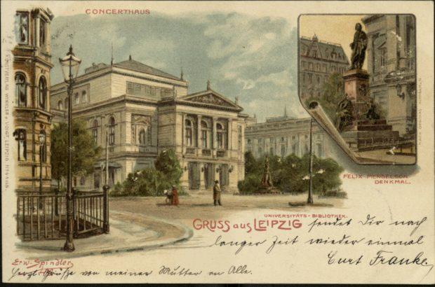 Kunstpostkarte mit dem Motiv des Gewandhauses im Musikviertel nach einem Aquarell von Erwin Spindler. Foto: IfL
