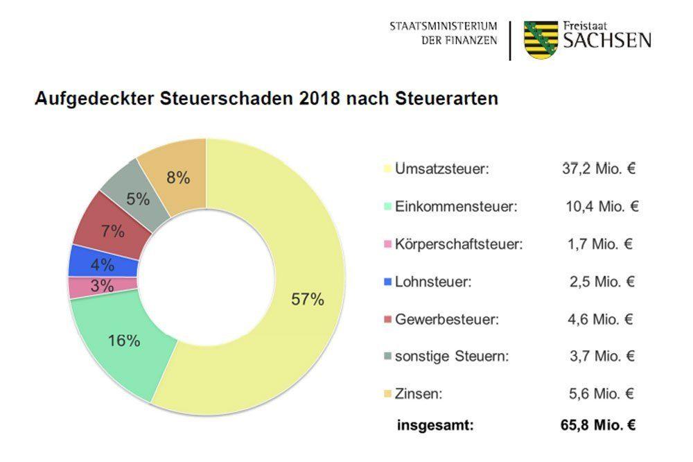 Aufgedeckter Steuerschaden 2018 nach Steuerarten. Grafik: Freistaat Sachsen, SMF