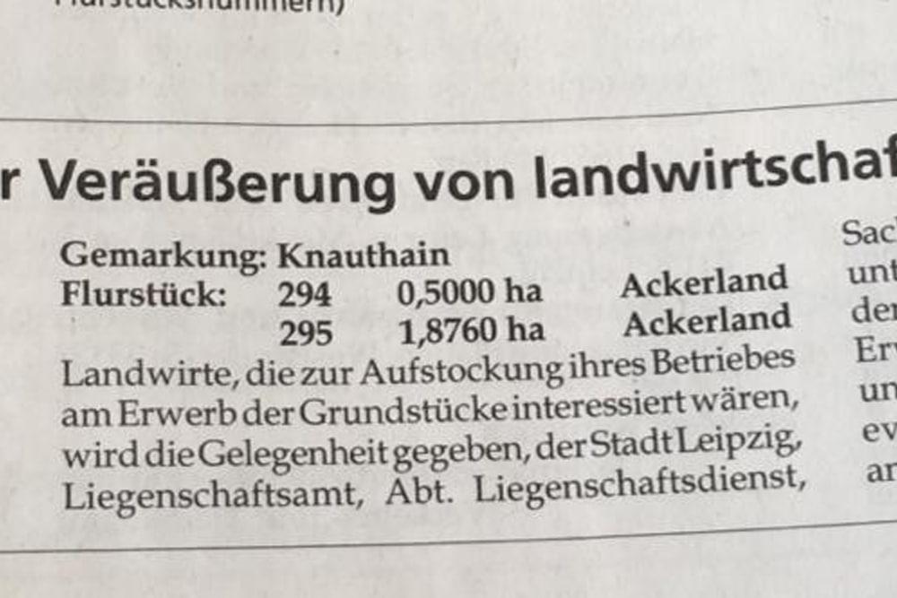Verkaufsmeldung im Amtsblatt. Foto: Grüne Fraktion Leipzig