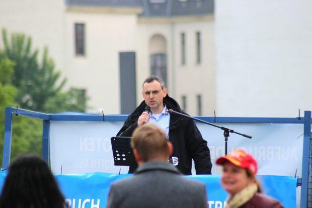 """Der Jan von der vom Verfassungsschutz als rechtsextrem eingestuften Vereinigung """"Pro Chemnitz"""". Foto: L-IZ.de"""