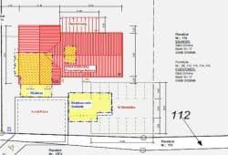 Der Neubau rot gekennzeichnet, gelb dargestellt ist der derzeitiger Stand. Plan: Büro Weidemüller, Wurzen