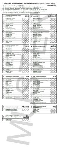 Ein Wahlzettel zur Stadtratswahl in Leipzig. Bild: Muster zum Wahlkreis 0, Stadt Leipzig