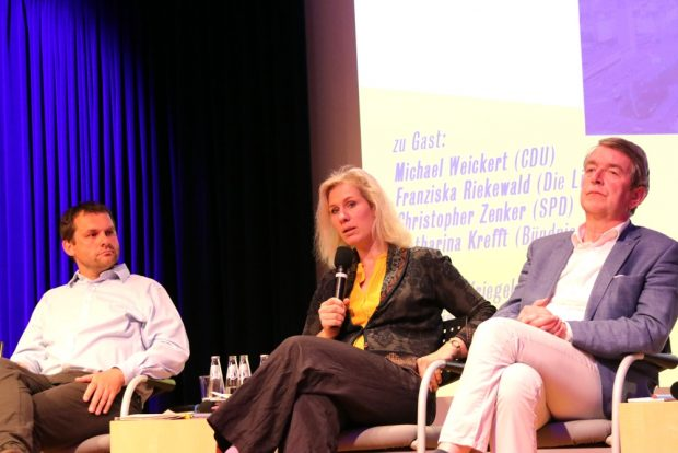 Christopher Zenker (SPD), Katharina Krefft (Grüne) und Christian Kriegel (AfD). Foto: L-IZ.de