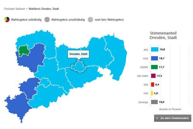 Das Dresdener Ergebnis zur Europa-Wahl. Karte: Freistaat Sachsen, Landesamt für Statistik