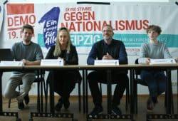 Demo-Organisator Marcus Röder, Irena Rudolph-Kokot, Sebastian Viecenz und Ita Weinrich. Foto: Ralf Julke