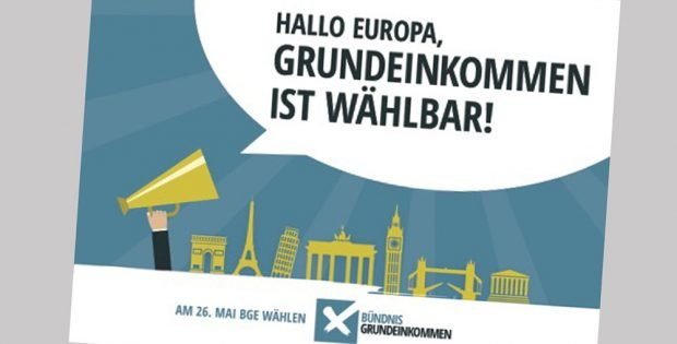 Postkarte zur Wahl am 26. Mai. Grafik: Bündnis Grundeinkommen