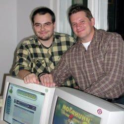 Die beiden Mogelpower-Gründer René Meyer und Sven Letzel (2003). Foto: Schreibfabtrik, René Meyer