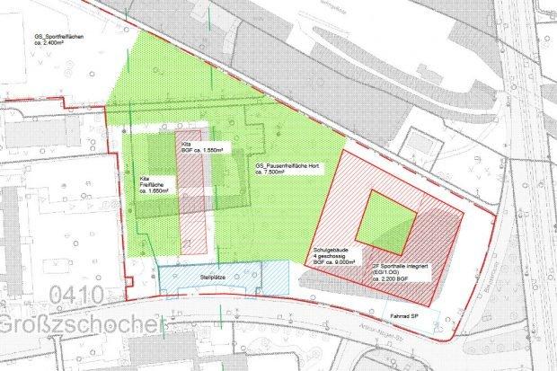 Der geplante Schulneubau an der Arthur-Nagel-Straße. Karte: Stadt Leipzig