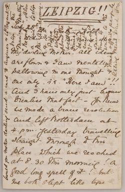 Digitalisat einer Briefseite von Ethel Smyth vom 28.7.1877. Foto: HMT Leipzig