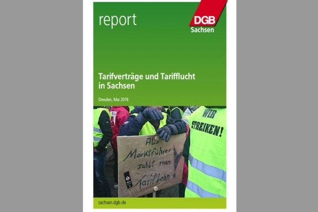 """Studie """"Tarifverträge und Tarifflucht in Sachsen"""". Cover: DGB Sachsen"""