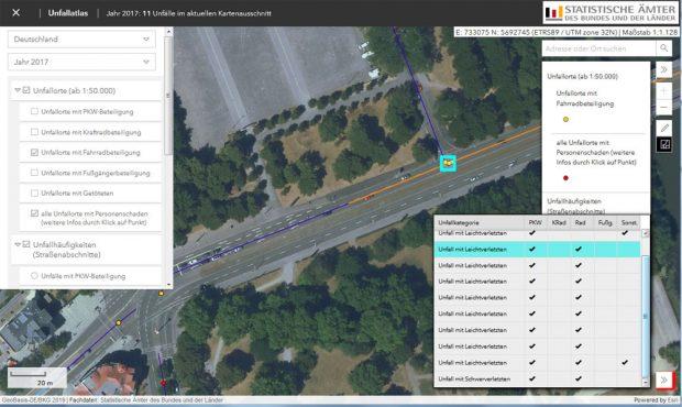 Kartendetail aus dem Unfallatlas: Unfallschwerpunkt Cottaweg. Screenshot: L-IZ