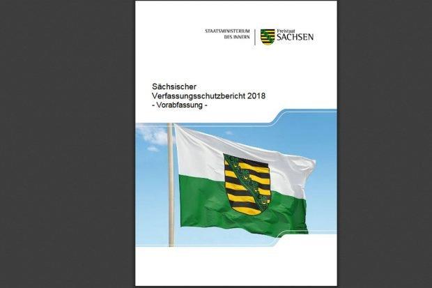Verfassungsschutzbericht 2018. Cover: Freistaat Sachsen. LfV