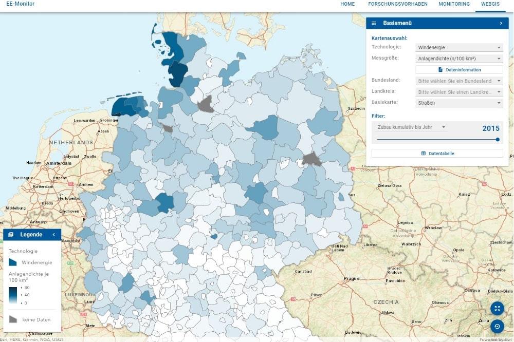 Benutzeroberfläche Web-GIS-Anwendung. Bild: UFZ