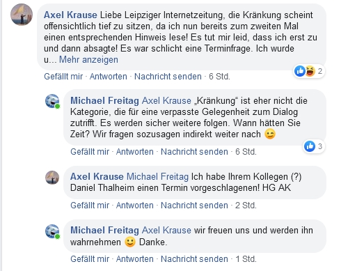 Verständigungen und eine Zusage zum Interview von Axel Krause auf facebook. Screen L-IZ.de / Facebook