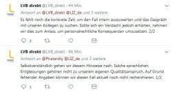 Man will sich kümmern bei der LVB (via Twitter). Screen Twitter, L-IZ.de