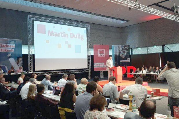 Der sächsische SPD-Landesvorsitzende Martin Dulig fand lobende Worte für seinen Landesverband. Foto: René Loch