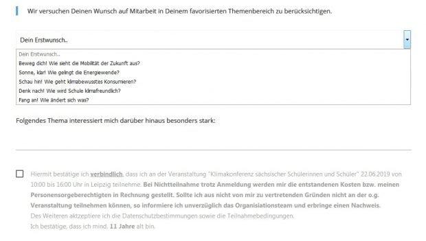 Noch keine Inhalte vorhanden, der Koalitionspartner wusste von nichts und Anmeldungen ab 11 Jahren. Das Formular der Klimaschutzkonferenz vom 12. Mai 2019. Screenshot L-IZ.de von der Webseite der Klimakonferenz Sachsen