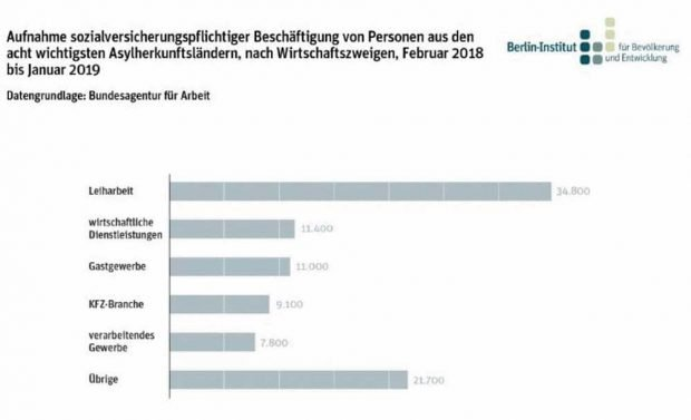 Arbeitsaufnahme von Geflüchteten nach Wirtschaftszweigen. Grafik: Berlin-Institut
