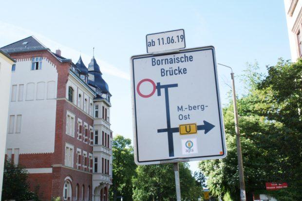Umleitungsschild in der Bernhard-Göring-Straße. Foto: Ralf Julke