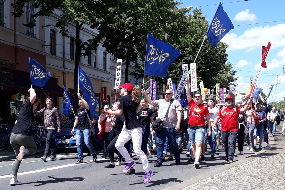Marsch für Jesus durch Leipzig. Foto: René Loch