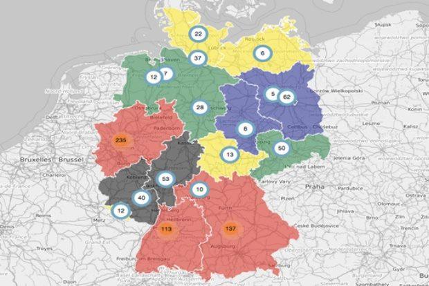 Mit Abstand die meisten Nationalspieler mit 235 an der Zahl kommen aus dem bevölkerungsreichsten Bundesland Nordrhein-Westfalen. Bildquelle: sportwettenvergleich.net