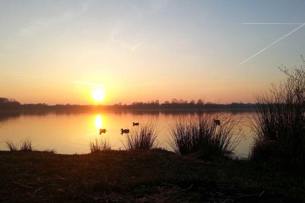 Sonnenuntergang am Kulkwitzer See. Foto: Jan Kaefer