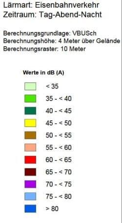 Die Farbzuornung für die oben abgebildete Lärmkarte. Grafik: Stadt Leipzig