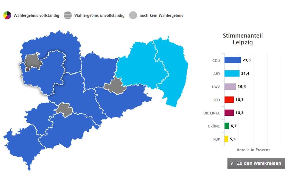 Kreistagswahl 2019 im Landkreis Leipzig. Grafik: Freistaat Sachsen