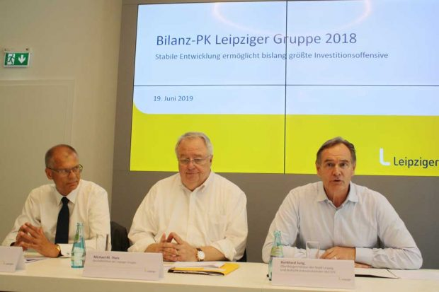 Volkmar Müller, Michael M. Theis und Burkhard Jung zur Bilanzpressekonferenz. Foto: Ralf Julke