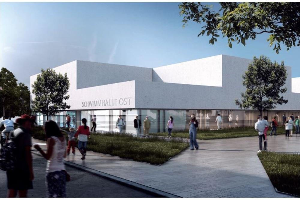 Entwurf für die Schwimmhalle Otto-Runki-Platz. 1. Preisträger gmp Generalplanungsgesellschaft mbH (Berlin). Foto: Leipziger Gruppe