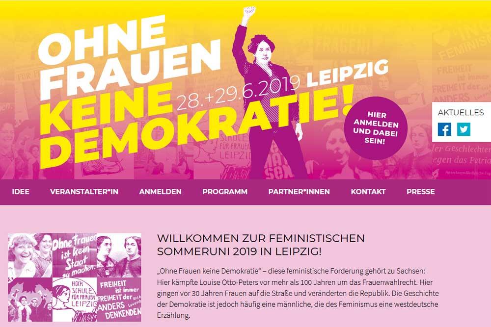 Homepage der Feministischen Sommeruniversität. Screenshot: L-IZ