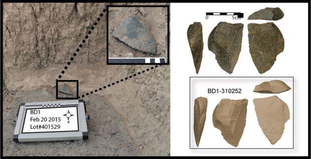 Eines der größeren Steinartefakte von Bokol Dora in Fundlage. Rechts: Foto und dreidimensionales Modell des gleichen Artefakts. Foto: David R. Braun, License: CC-BY-SA 2.0