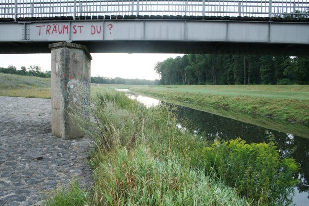 Berechtigte Frage an einer Brücke über die Neue Luppe. Foto: Ralf Julke