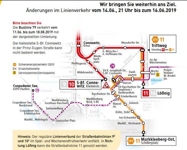 Umleitungsplan der LVB. Karte: LVB