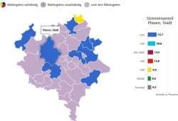 Das Wahlergebnis zur Gemeinderatswahl 2019 in Plauen. Grafik: Freistaat Sachsen