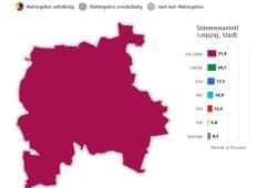 Ergebnisse zur Leipziger Stadtratswahl am 26. Mai. Grafik: Freistaat Sachsen, Landesamt für Statistik