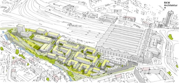 Das neue Stadtquartier an der Parthe. Visualisierung: RKW Architektur +