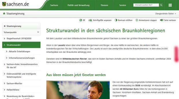Zahlenangaben der Sächsischen Staatsregierung auf ihrer Website zum Strukturwandel. Screenshot: L-IZ, 16. Juni 2019