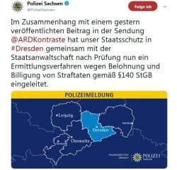 Am frühen Nachmittag des 5. Juli 2019 bestätigte die Polizei Sachsen die Ermittlungen. Screen Twitter