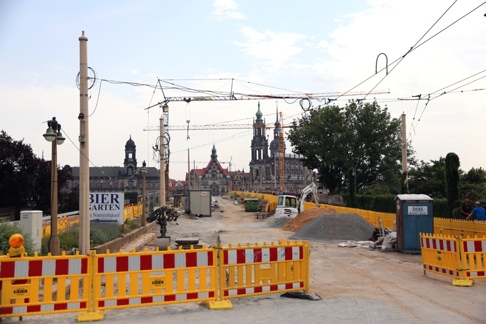 Baustelle Albertbrücke in Dresden. Foto: L-IZ.de