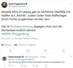 Die Meldung von André Poggnburg und das Dementi der Polizei Sachsen auf Twitter. Screen Twitter