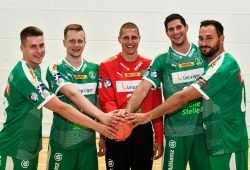 Die fünf Neuzugänge Marko Mamić, Viggó Kristjánsson, Joel Birlehm, Philipp Müller und Luca Witzke. Foto: Rainer Justen